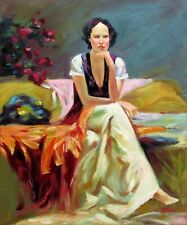 Seated Lady, Quality Hand Painted Oil Painting, 20x24in