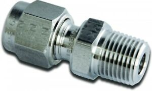 """M15MSC1/2N-316 Parker A-LOK Stainless Metric Male Connector OD 15mm x NPT 1/2"""""""