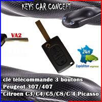 CLE DE VOITURE TELECOMMANDE POUR PEUGEOT 307/407 Citroen C3/C4/C5/C8/picasso VA2