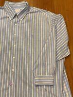 Brooks Brothers Original Polo Shirt Sz XXL Supima Cotton Non-Iron Blue Stripe