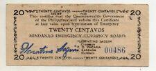 Philippine Mindanao 1944 WW2 S521 20 Centavos Rare 15k Printed Low Print #00,486