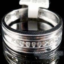 HOMBRES 10k Oro Blanco Original Diamante Auténtico Anillo de Compromiso Bodas