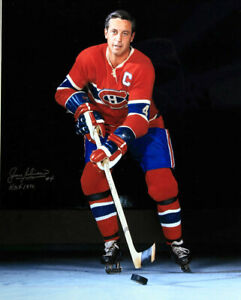 1 - 16 x 20 Glossy Photo of Jean Beliveau Canadiens  Autographed