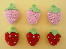 20 Hand Crochet Red & Pink Strawberry Applique/Yarn/trim/Sewing/Padded/Kids C12