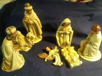 Vintage Antique Christmas 7 Piece Nativity Set Composite