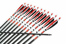 """12pcs,5"""" Turkey Feather Carbon Complete Arrows Spine 500 Steel Point Red"""