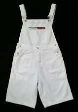Vtg 90s Tommy Girl Hilfiger Shorts Overalls M/L White Denim Hip Hop
