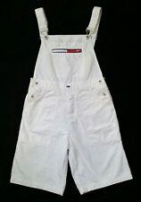 Vtg 90s Tommy Girl Hilfiger Shorts Overalls M/L White Denim