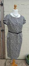 M&S Black Leopard Animal Print Smart peplum Work Dress Size 14 belted office