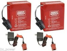 00801-0712 2 x 6 Volt Red Batteries Plus 2 Chargers Combo Power Wheels Battery