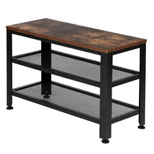 Industrial Shoe Bench 3-Tier Shoe Rack Storage Organizer with Seat for Entryway