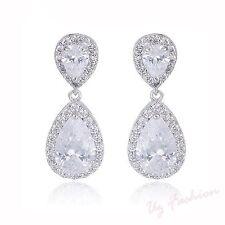 Beautiful Dangling Drop Diamante Rhinestones Crystal Wedding Silver Earrings