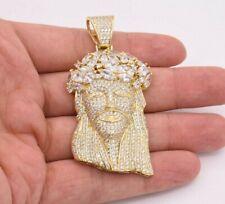 "2 3/4"" Jesus Head CZ Cubic Zircon Charm Pendant 14K Yellow Gold Clad Silver 925"