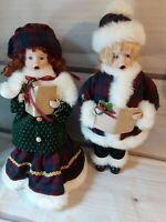 Set of 2 Vintage Looking Holiday CHRISTMAS CAROLERS Girl Boy Porcelain Face Hand
