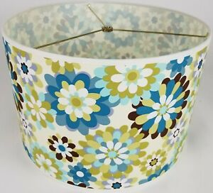 """NEW Drum Lamp Shade 15"""" Dia 10"""" H Contemporary Floral Blue Green Fabric"""