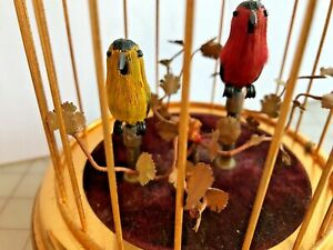 """WIND UP """"SINGING"""" 2 BIRD BRASS CAGE"""" Music box ETCHED numbers, Made in Germany"""