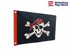 "12x18"" One Eyed Jack Pirate Skull Boat Flag - Double Sided All Weather Nylon"