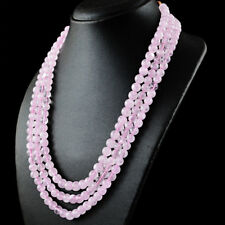 610.00 Cts Natural 3 Strand Pink Rose Quartz Round Beads Necklace- NK 09 MI6