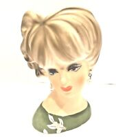 Vintage NAPCO 1950s Lady Head Vase Planter C7471 Foil Sticker Earrings 4 1/2""