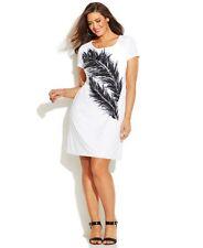 NEW INC Women Short Sleeve Round Neck Feather Sheath Shift Dress Off White Sz 0X