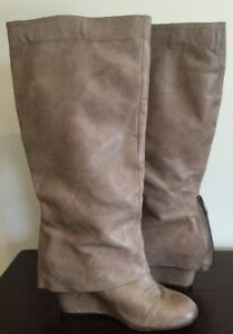 """Steve Madden WOMENS P-Miles TAUPE BEIGE KNEE HIGH 3"""" WEDGE LEATHER HEELS SIZE 6"""