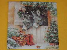 4 Servietten Esel Stallfenster Gummistiefel  Weihnachten donkey robin Äpfel KORB