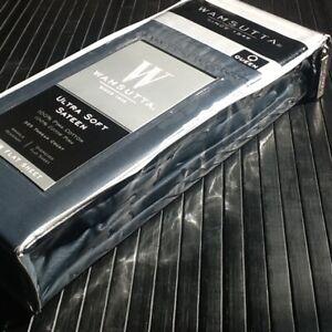 NEW Dark Blue Wamsutta Ultra Soft 525TC 100% Pima Cotton Sateen QUEEN Flat Sheet