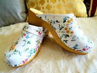 Blanco & Flores en el cuero Zapatos prensados Zuecos de tacon Estilo sueco 36-41