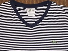 LACOSTE Size 5 >> US MEDIUM Navy & White Striped Shirt Regular Fit