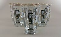 vintage libbey highball drinking glasses clock watch timepiece  *  set of 8