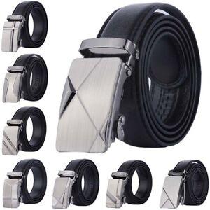 Automatic Buckle Belt Men's Leather Belt Business Fashion Belts Black 110cm_yk