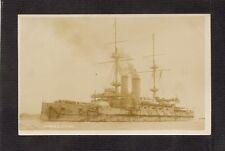 REAL-PHOTO POSTCARD:  H.M.S. LONDON - PRE-WW-1 BRITISH NAVY BATTLESHIP