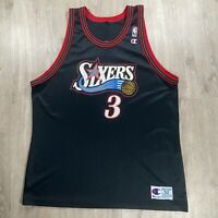 Vintage Champion Allen Iverson Jersey Philadelphia 76ers AI NBA Black Size 52