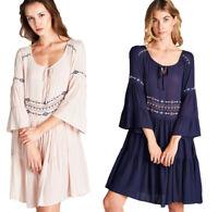 JODIFL Womens Embroidery Boho 3/4 Bell Sleeve Bohemian Chic Casual Dress  S M L