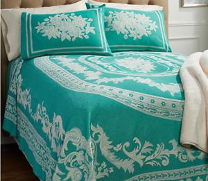 H214516 Williamsburg 100% Cotton Jacquard Woven Bedspread Seaglass Queen NEW