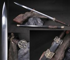 "Chinese Sword ""Han Jian""(劍) High Quality Alloy Fitting Pattern Steel Ebony Sharp"
