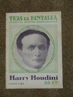 1921 Harry Houdini - Spanish Tras La Pantalla rare magazine