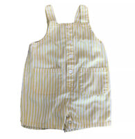 Baby Gap Vintage Yellow White Striped Short Overalls Button Front Pockets 12-18