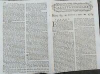 1784 GAZZETTA UNIVERSALE: GUERRA SPAGNOLA ALGERIA; MONGOLFIERE A ROMA E COCKZIM