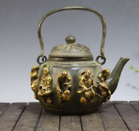China The Ming Dynasty Old Gold gilding Pure copper Eight Immortals Teapot