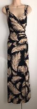 Phase Eight Black Feather Print Wrap Effect Maxi Dress Size UK 16