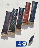 Leather strap for Tag Heuer Black Brown 20/22mm Monaco Carrera Crocodile Carbon