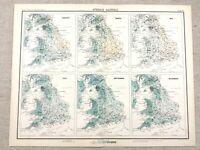 1890 Antique Map of England Rainfall Meteorology Victorian 19th Century Original