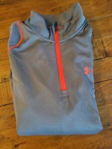 UNDER ARMOUR Sweat à capuche ColdGear $55 Coupe Ample Bleu Orange Gris Résistant à l/'eau pour Homme