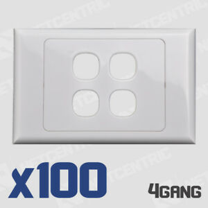 100x 4 Gang Face Plate Wall Cover Electrical Port Jack Clipsal Compatible BULK