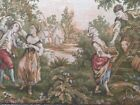 FRENCH AUBUSSON STYLE PASTORAL SCENE VINTAGE HANGING TAPESTRY FRAMED AROUND WOOD