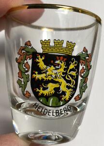 Shot Glass Heidelberg Family Crest Germany, Made in France Gold Rimmed