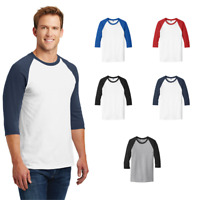 Gildan Baseball T-Shirt 3/4-Sleeve Raglan Color Block Cotton Mens Unisex T 5700