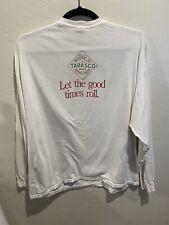 McIlhenny Tabasco Sauce Tshirt Long Sleeve Double sided French English White 2XL