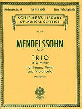 Mendelssohn Piano Trio No. 1 In D Minor Op. 49 puntuación partes Violín música Libro